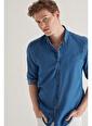 Avva  Erkek Lacivert Düz Alttan Britli Yaka Regular Fit Denim Gömlek A11Y2118 Lacivert